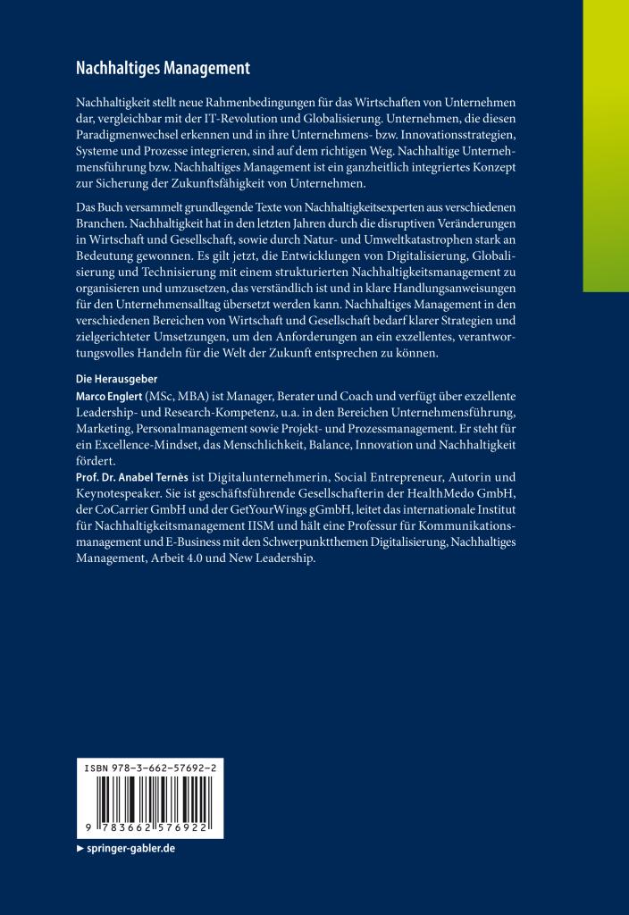 Nachhaltiges Management Buch Cover